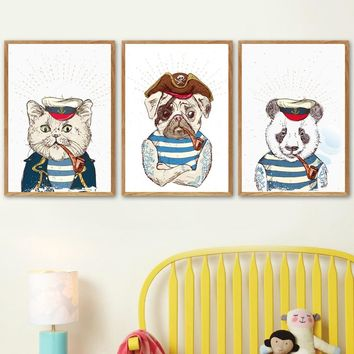 Dog Pirate Captain Cat Panda Sailor Nordic Poster And Prints Wall Art Canvas Painting Wall Pictures For Kids Boy Bedroom Decor