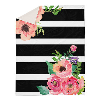 Black and White Stripes Floral Duvet Cover