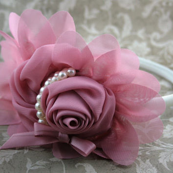 Vintage Rose Mauve and Pearl Headband, Formal Headband, Flower Girl Headband, Girl Headband, Hard Headband, Photo Prop
