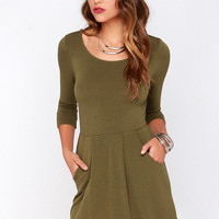 Forest Friends Olive Green Dress