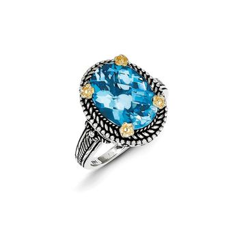 Antique Style Sterling Silver with 14k Yellow Gold 6.00 Swiss Blue Topaz Ring