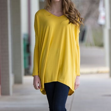 The Perfect Piko V-Neck Tunic Top-Mustard