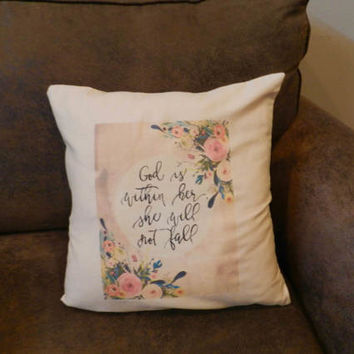 Psalm 46:5 Pillow Cover Christian Scripture God Is Within Her She Will Not Fall Decorative Pillow Home  Decor Gift