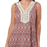 AGB Womens Global Chic Printed Embellished Top | Bealls Florida