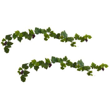 Silk Flowers -6 Inch Grape Leaf Deluxe Garland With Grapes -Set Of 2