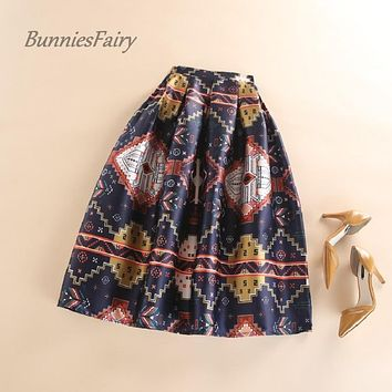 BunniesFairy 2016 Autumn Ethnic Boho Vintage Style Retro Geometric Mathematics Figure Floral Print Pleated Skirt Midi Long Tutu