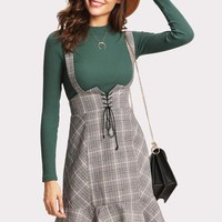 High Waisted Plaid Overall Skirt