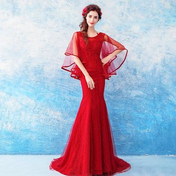 Wine Red Evening Dresses Lace Mermaid Train Wrap Party Formal Dress