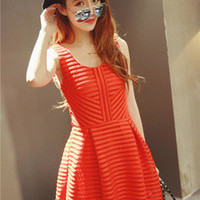 Red Geometric Pattern Design Lace Dress