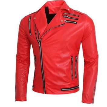 Men's Leather Jackets fashion multi zipper slim casual red/