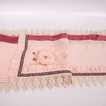 Vintage Pink Silk Table Runner Crochet Lace Rose Ruffles Hand Embroidered Dresser Scarf Bureau Linen