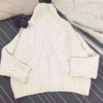 2016 Limited Promotion Casual Computer Knitted Pull 2017 High Collar Knit Flower Pattern Sweater Wool Bat Sleeve Loose Female