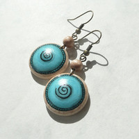 Unique Earrings Painted Wood Earrings, Art  Design Earring, Round Wooden Earrings, Dangle Blue Turquoise Earring, Arts and Crafts by Artdora