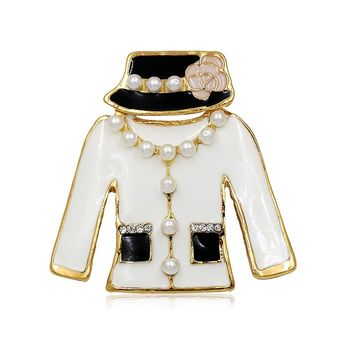 WEIMANJINGDIAN Brand Vintage Style Lady Dress Brooches with Black and White Enamel
