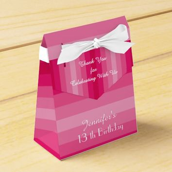 13th Birthday Favor Box, Pink Stripes Favor Box