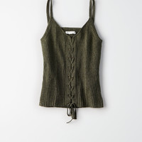AE RIBBED KNIT CORSET TANK TOP, Olive