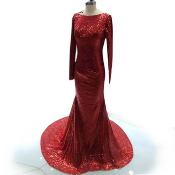 Gorgeous red Mermaid Long Dresses Sequin Long Sleeves V-neck Formal Party dress
