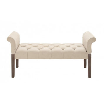 Tufted Upholstered Traditional Bench
