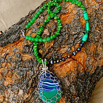 Spring Meadow Purple and Green Pendant Necklace, Silver plated Czech crystal statement jade hand wrapped, stone beaded, translucent, coral
