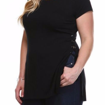 Curve Modal Eyelet Lace-Up Tunic in Black