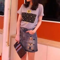 """Louis Vuitton x Supreme"" Women Casual Classic Print Pattern Short Sleeve T-shirt Top Tee"