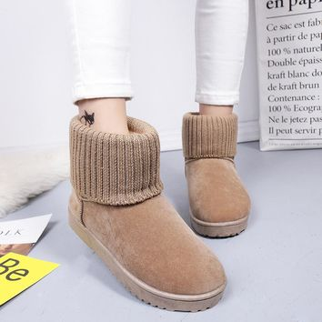 2018 Women Classic Snow Boots Knitting Wool Cuff Patchwork Female Ug Australian Warm Plush Furry Cotton Flat Shoes