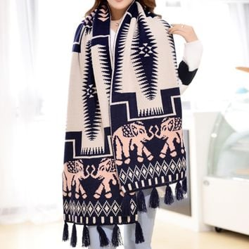 Cute Women's Elephant Ethnic Scarf