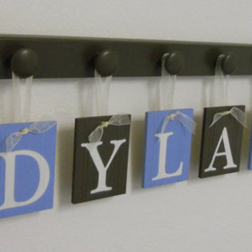 Nursery Wall Letters Custom Name Monogram Sets includes 5  Wooden Peg Hangers and Letters Blue and Brown - Personalized for DYLAN