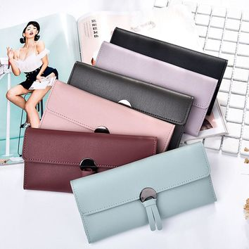 Women Naivety Long Wallet Female Simple Tassel Artificial Leather Coin Purse Card Holders Solid Handbag 2018 Fashion 10Jul 5