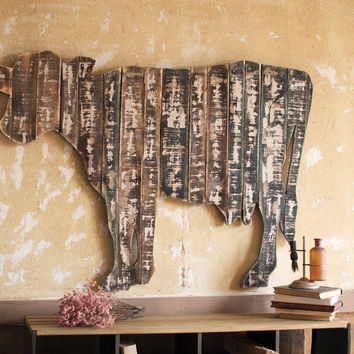 Reclaimed Wood Wall Hanging Cow