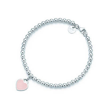 Tiffany & Co. - Return to Tiffany™ bead bracelet in silver with pink enamel finish, small.