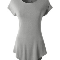 LE3NO Womens Lightweight Short Sleeve Handkerchief Hem Jersey Tunic Top (CLEARANCE)