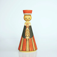 Wooden Russian folklore doll, USSR home decor, wooden Russian lady figurine, red costume doll figure, Russian doll decoration, Salvo doll