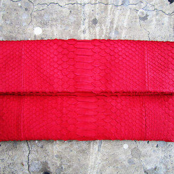 Neon Red Fold Over Python Snakeskin Leather Clutch Bag by linmade