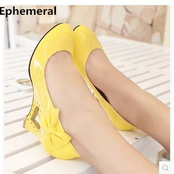 Ladies big size(4-12) elegant wedges high heeled shoes bowtie PU round toe women pumps wedding party summer style lady and girl