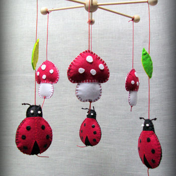 Baby nursery Mobile ladybugs and mushrooms - ready to ship