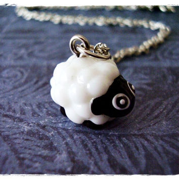 White Sheep Necklace - White and Black Resin Sheep Charm on a Delicate 18 Inch Silver Plated Cable Chain