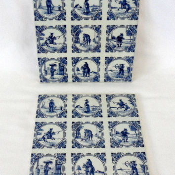 Vintage DELFT WALL TILES / Set of Two Wall Hanging Tiles / Delft Blue / Vintage Tiles From Holland / Tiles To Hang On The Wall