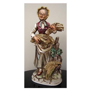 "Norleans Peasant Woman Rare Porcelain Figure vintage 70s Old Harvest Home Decor Large 14"" Brown Beige Green Red Farm Japan"