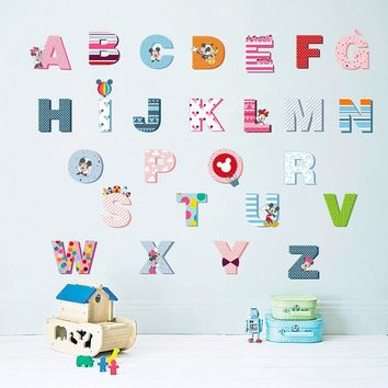 Cartoon Colorful Mickey 26 Letters alphabet Wall Stickers For Kids Rooms Nursery Room Decor Children Wall Decal Art poster gift