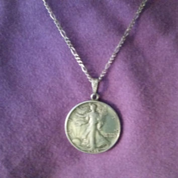 Silver Necklace with1943 Liberty Half Dollar Pendant from SterlinGold Treasures