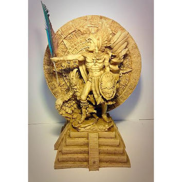 Aztec Statue, Aztec Calendar Stone, Sun Stone, Aztec Warrior Statue with Feather, Aztec Art, Aztec Sculpture, Sun Dial