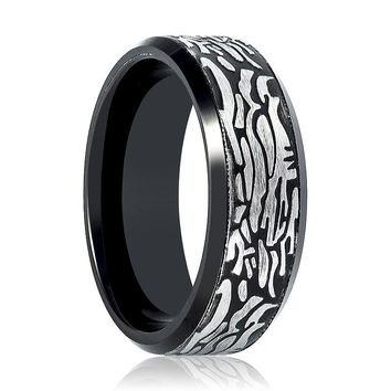 Aydins Tungsten Mens Ring Black Laser Carved Rock Art Pattern Tungsten Carbide Wedding Band