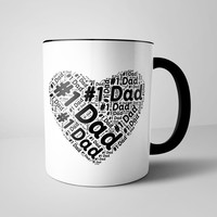 Number One Dad Coffee Mug 11 oz. #1 Dad Ceramic Mug for Fathers - Funny Gag Gift for Father's Day, Birthdays or Holidays - Printed on both sides - Black Rim and Black Handle