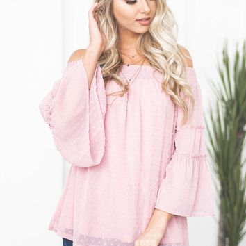 Tiered Sleeve Dotted Off Shoulder Top