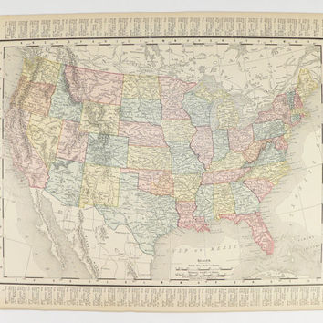 United States Map 1899 Antique Map USA, Map Vintage Geography Art, 11 x 14 Map, Gift for Traveler, Color Map United States Gift for Teacher