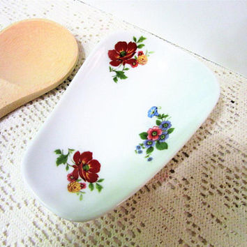 Spoon Rest Kitchen Floral Hand Painted Cookware Ceramic Porcelain Pottery blm