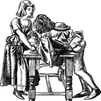 medieval couple courting png Digital stamp image download clip art graphics lovers kitchen romance illustrations printable wall art