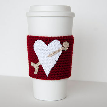 Cup Sleeve, Coffee cozy, valentine heart, white heart, i love coffee, true red sleeve, taupe arrow, valentine for her, cup cozy