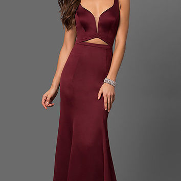 Long V-Neck Prom Dress with Waist Cut Out